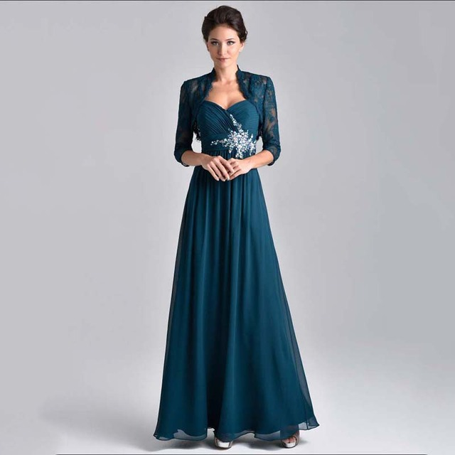 efc85f081a4 Formal Party Dress Chiffon Empire Waist Modest Elegant Long Plus Size  Evening Dresses 2015 Crystals Lace Income with Jacket