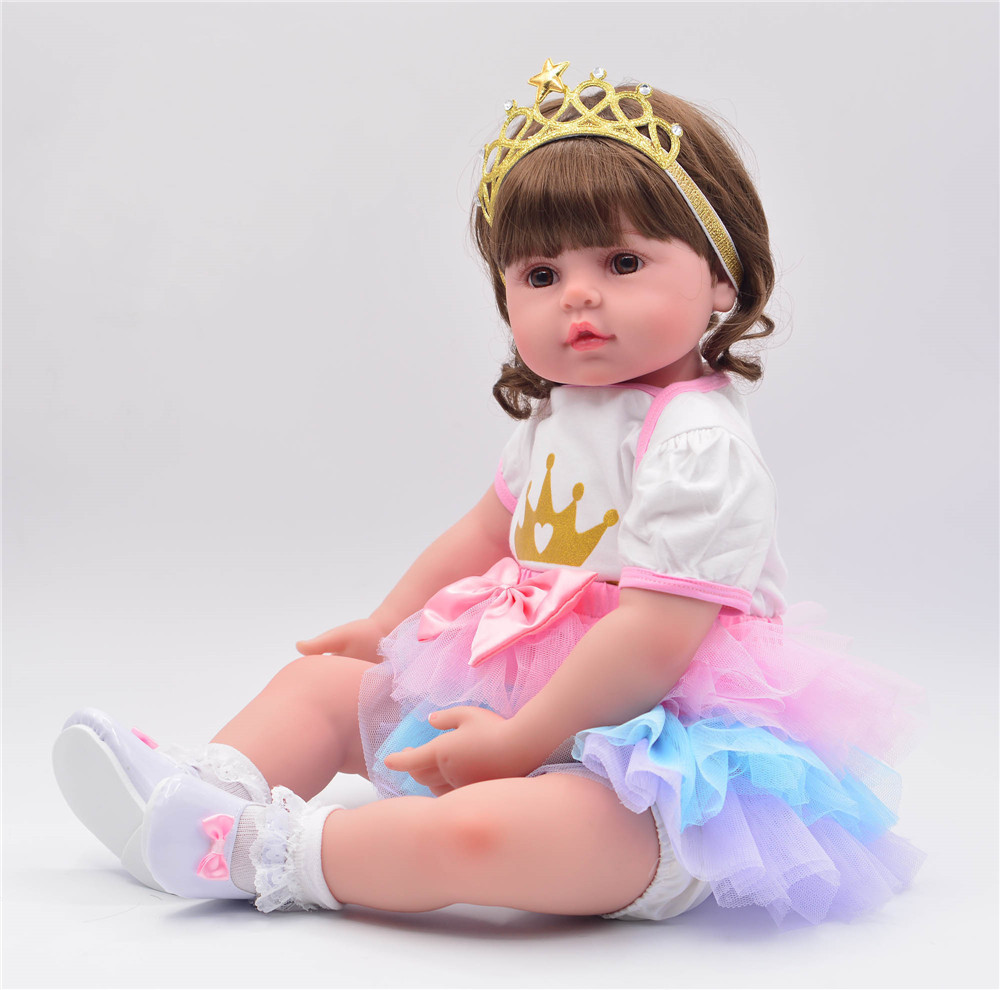 58cm Reborn Baby Girl soft Silicone reborn doll with Super nice princess dress Baby Dolls Kids DIY Toys Curved Hair brown eyes58cm Reborn Baby Girl soft Silicone reborn doll with Super nice princess dress Baby Dolls Kids DIY Toys Curved Hair brown eyes