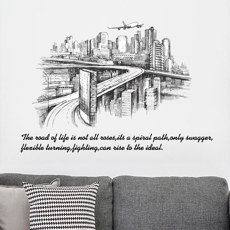 Cityscape buildings wall sticker Vinyl Wall decals for Living room office study Sofa background wall Decoration Art