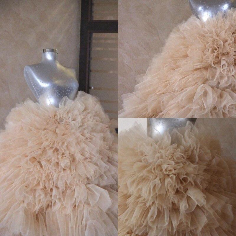 Custom Made Champagne Wedding Skirt Tulle Skirt Puffy Multi Layer Maxi Skirts Woman