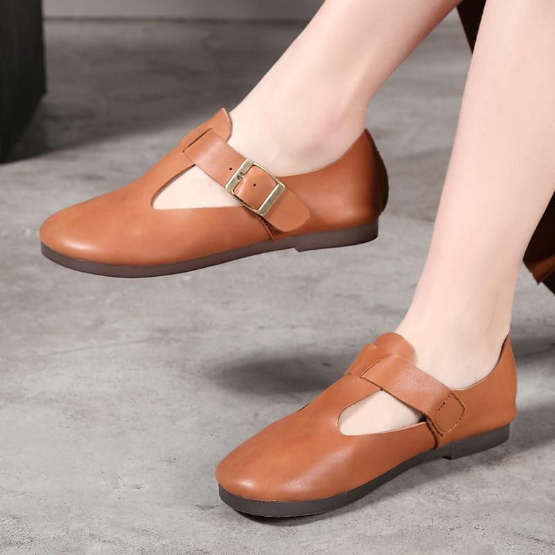 Vallu 2019 새로운 도착 여성 신발 간단한 기질 패션 아파트 숙녀 단색 금속 버클 가죽 수제 신발-에서여성용 플랫부터 신발 의  그룹 1