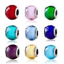 Petite breloque en verre de Murano à facettes coloré, en argent Sterling 925, adapté aux Bracelets Pandora originaux, bricolage de bijoux