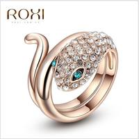 ROXI Jewelry Professional Austrian Crystal Rose Gold Blue Eyes Ladies Ring 6 8