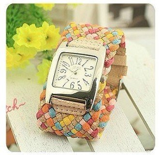 Free Shipping wholesale korea rope fashion Braided Leather Cord Lady bracelet watch.TOP quality.
