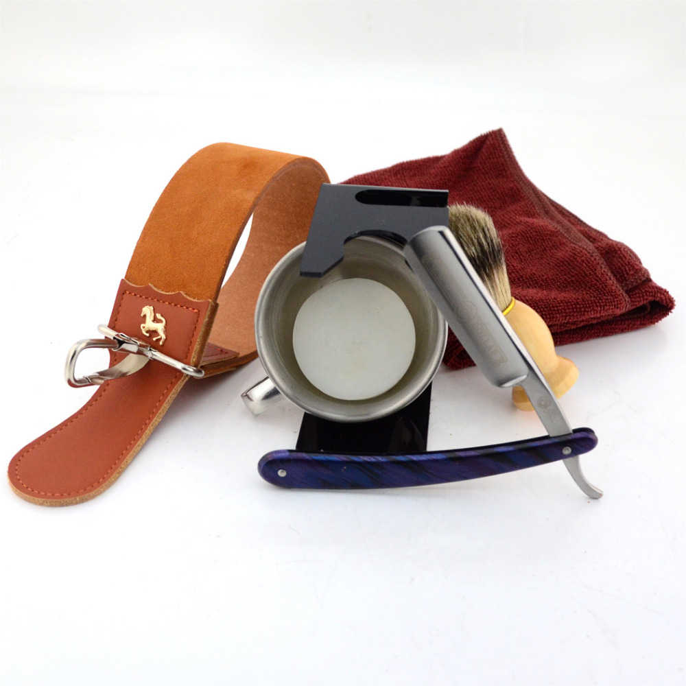 Shaving Supply Of Barber Razor Set Straight Razor Leather Sharpening Strop Shaving Brush Razor Stand Holder Soap Towel Kit