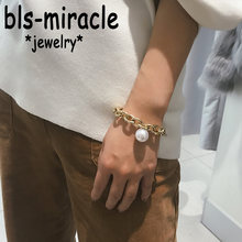 Bls-miracle Boho Imitation Pearl Pendant Bracelets For Women Statement Heavy Thick Chain Bracelet & Bangle Jewelry Drop Shipping(China)