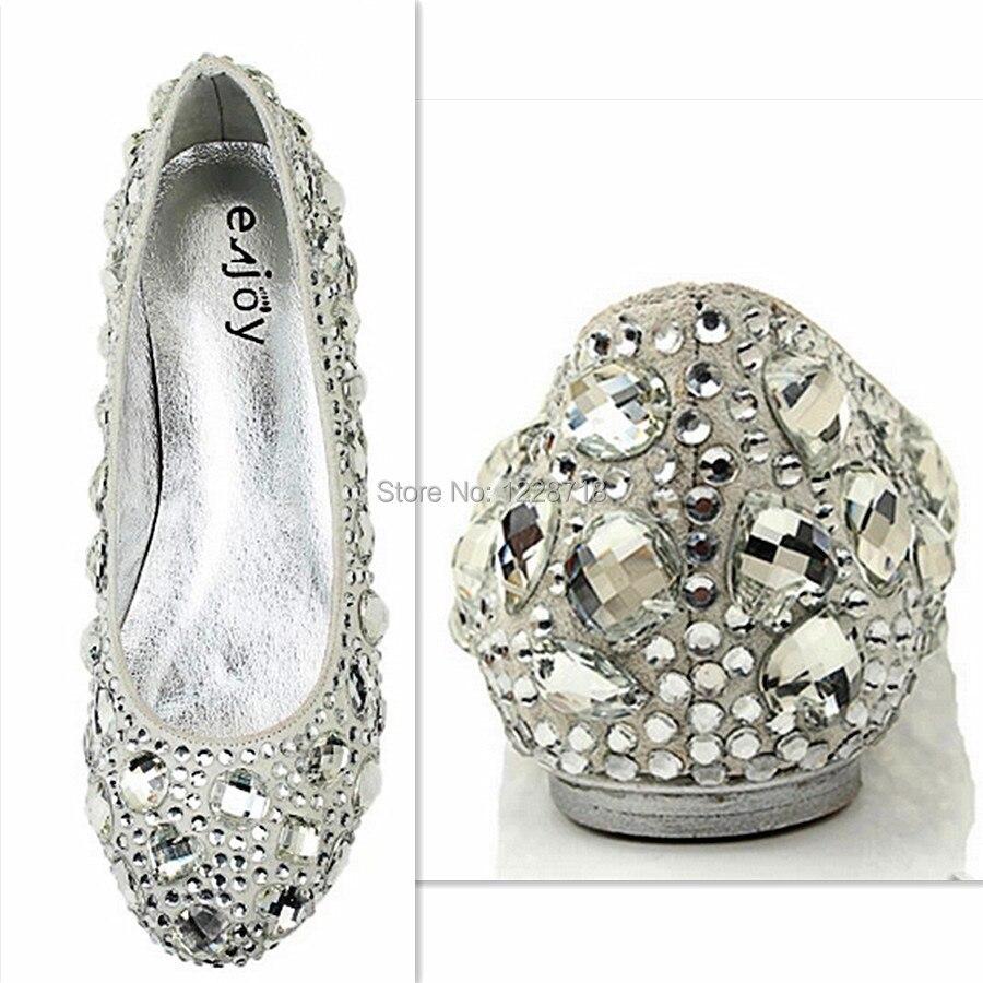 silver crystal bling bling bride flats diamond wedding shoes ...