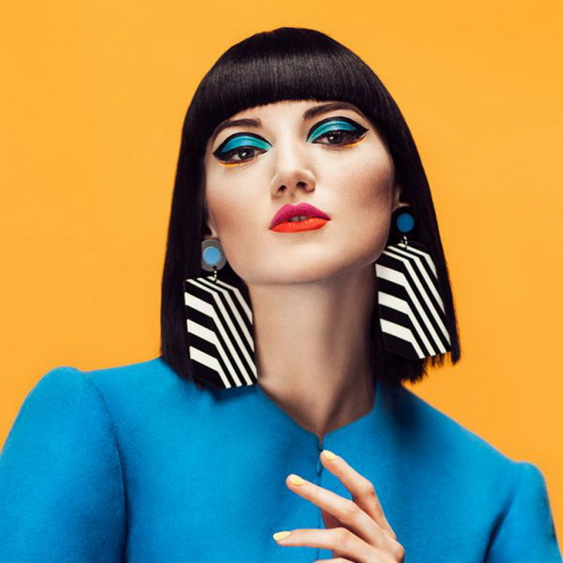 Black White Stripe Geometric Drop Earrings For Women Long Big Acrylic Earrings Trendy Fashion Fashion Jewelry