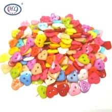 HL 10MM 50/100pcs/200pcs Mix Color Heart Flatback Plastic Buttons 2 Holes DIY Scrapbooking Kid's Garment Sewing Accessories