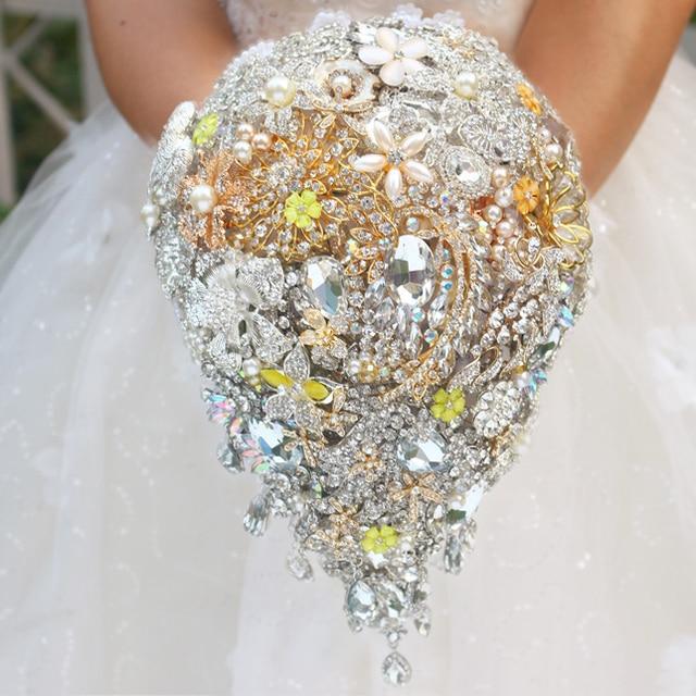 De lujo de oro amarillo gota broche ramo Ramo de Novia de estilo custom wedding los ramos nupciales cristalinos de la lágrima decoración