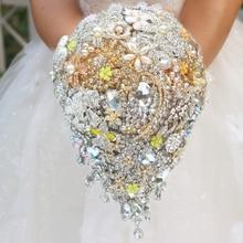 Luxury golden yellow drop brooch bouquet  custom wedding bridal bouquets crystal teardrop style Bride 's Bouquet decor