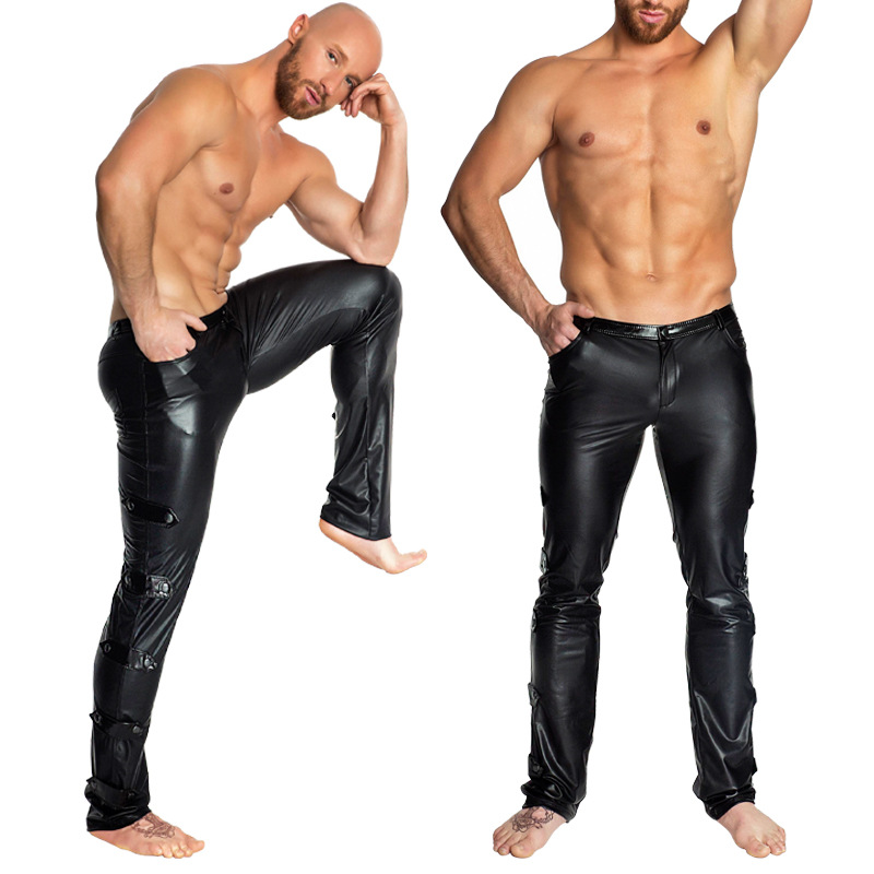 Men Sexy Latex Leather Tight Locomotive Pants Catsuit Costumes Strippers Outfit  Bar Clubwear