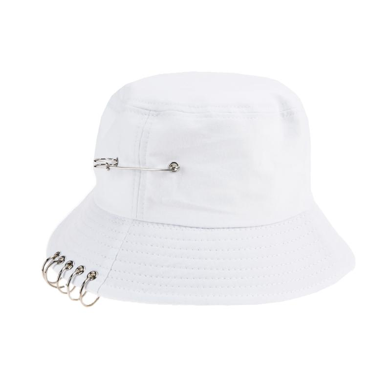 HTB1euZEa8Kw3KVjSZTEq6AuRpXa4 - NEW Solid Color Cool Unisex Iron Pin Ring Personality Bucket Hat Cap Folding Fisherman Hat Hunting Fishing Outdoor Cap