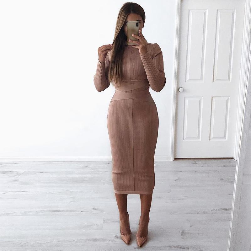 Ocstrade Nouvelle Année 2019 Sexy Nude Col Roulé à manches longues robe lacée Nervuré Celeb Femmes robes bandage qualité supérieure Rayonne - 3