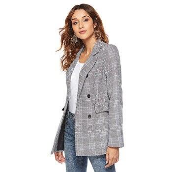 New arrival fashion women professional temperament simple plaid blazers OL comfortable vintage elegant work style suit jacket