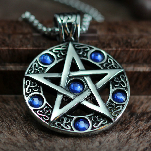 Celtic wicca pentacle pentagram star blue cz stones stainless steel celtic wicca pentacle pentagram star blue cz stones stainless steel pendant witch and wizard magic witchcraft mozeypictures Images