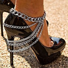 fashion punk temperament multilayer exaggerate chain tassel anklets for women Girl Party Anklet Pins Jewelry Free Shipping