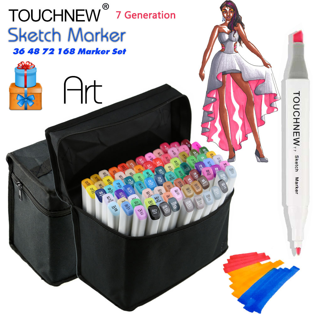 TOUCHNEW 36/48/72/168 Colors Art Marker Alcohol Markers Manga Colored Pen Set Artist Brush Pen Double Tips Comic Art Supplies touchnew 36 48 60 72 168colors dual head art markers alcohol based sketch marker pen for drawing manga design supplies