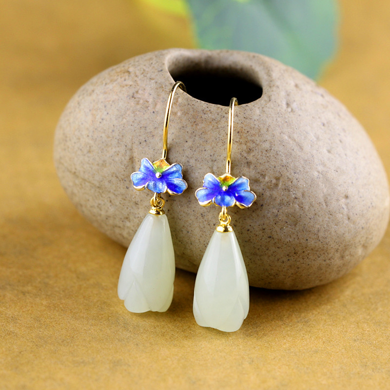 New Natural Gemstone Jade 925 Pure Silver Earrings for Women Gild Color Cloisonne Magnolia Flower Jewelry Earrings Fine Jewelry pair of sweet candy color gemstone embellished earrings for women