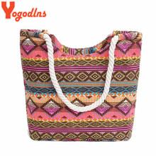 Yogodlns New Women Handbag Canvas Floral Printing Shoulder Beach Bags Casual Female Tote Shopping Bag Bolsa Feminina 2019