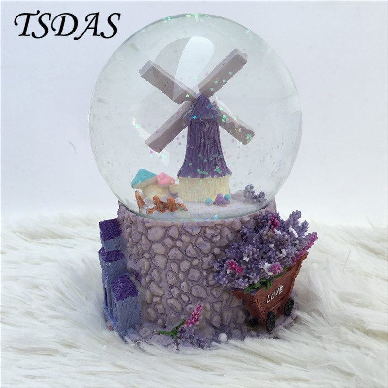 Creative Cartoon Swivel Merry Go Round Resin Music Box Crystal Ball Musical Box With Snowflake Romantic Birthday Gift For Girl