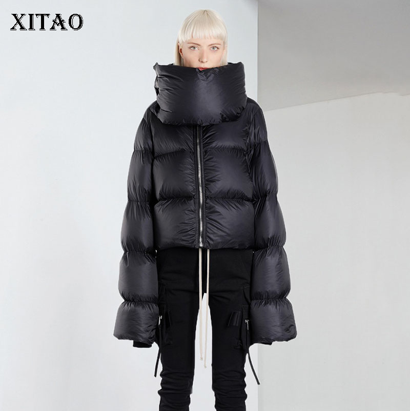[XITAO] Casual Women 2018 Winter Fashion White Duck   Down   Turtleneck Full Sleeve   Coat   Female Solid Color Thick   Down     Coat   LYH1963