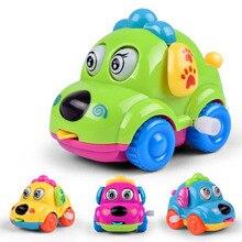 Купить с кэшбэком Wind Up Toys Gift Cartoon Animal Dog Running Car Clockwork Classic  Cute Baby Toys Infant Crawling Kids Mini Jumping Pull Back