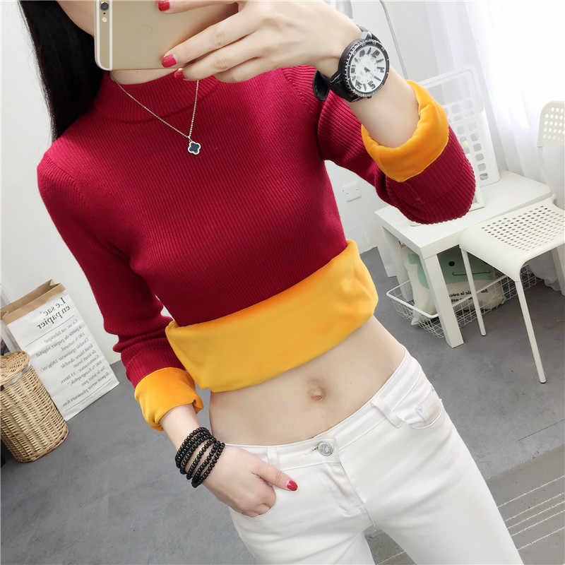 겨울 플러스 벨벳 니트 스웨터 bottoming 셔츠 패션 두꺼운 따뜻한 여성 스웨터 풀 오버 여성 절반 터틀넥 스웨터 w1028
