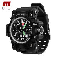 TTLIFE TS04 Mens Sports Watch Waterproof Dual Display Mens Watch LED Luminous Big Dial Multifunction Wrist