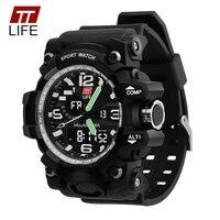 TTLIFE TS04 Mens Sports Watch Waterproof Dual Display Mens Watch LED Luminous Big Dial Multifunction Wrist
