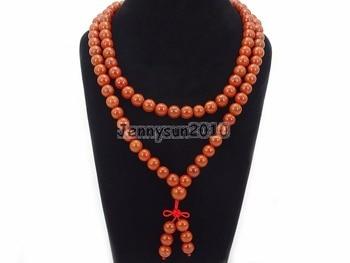 Natural Red Ja-sper 10mm Gems Stone Buddhist 108 Bead Prayer Mala Long Necklace Multi-Purpose Bracelet Necklace 5Strands/Pack
