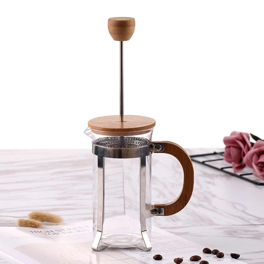 Portable Manual French Presses Pot Coffee Maker Filter Pot Eco-Friendly Bamboo Cover Coffee Plunger Tea Maker Percolator Tool
