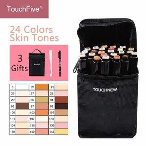 Touchfive 12/24Colors Skin Tones Set Alcohol-based ink Sketch Marker pens for Artist Portrait Illustration Drawing Art Supplies(China)
