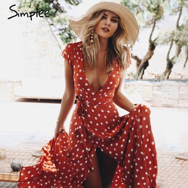 Simplee глубоким v-образным вырезом red dot длинное платье Элегантный Высокая талия галстук осеннее платье с бантом пикантные Макси роковой vestidos