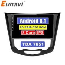 Eunavi 10,1 «Android 8,1 Автомобильный gps радио плеер для Nissan X-Trail parail 2014-2017 с восьмиядерным 2 ГБ + 32 ГБ стерео Мультимедиа