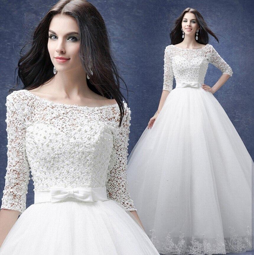 Fansmile 2019 New Arrival Robe De Mariage Princess Sleeve Lace Ball Gown Wedding Dress Custom Made Vestido De Noiva FSM-581F