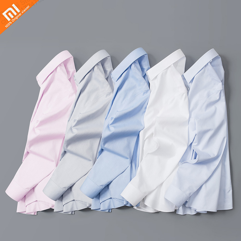 Original Xiaomi 90 Points Anti-wrinkle Free Ironing Cotton Shirt For Long-staple Cotton Soft Skin-friendly Work Clothes 5 Colors