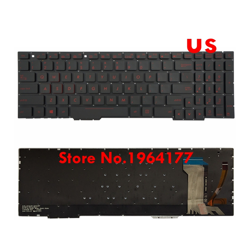 Black US Layout Keyboard For Asus FX53VD FX53VW FX753VD FX753VE With Backlit