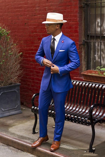 Châle Bal Cravate Cher Pas Revers Royal Bleu Mariage Fit Classique Pantalon veste Slim Picture Smokings Costume Hommes Color De 2016 Vintage Marié 6Hnqw