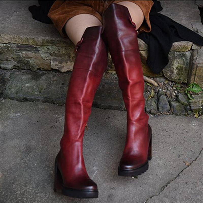 High quality fashion vintage rivet women boots round toe genuine leather boots cowhide high heels boots over-the-knee boots big size 34 42 high quality genuine leather leisure low heels ankle boots fashion cowhide round toe platform women boots