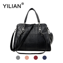 Фотография YILIAN 2017 Woman Handbag PU Leather Bag Big Capacity Classic Black Cowhide Shoulder Bag Female Fashion Bag 82519