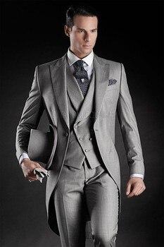 Classic Design Groom Morning Suits Groomsmen Men's Wedding Blazer Prom Suits (Jacket+Pants+Vest+Tie) NO:243