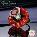 Anillos de plata para Las Mujeres Rosa Roja Flor Del Esmalte Del Anillo Cúbico Zircon CZ Diamond Heart Pura 925 Anillo de Plata Esterlina Femenina HECHO A MANO
