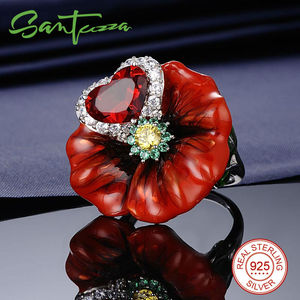 Image 3 - SANTUZZA Silver Flower Rings For Women 925 Sterling Silver Creative Red Rose Flower Ring Fashion Jewelry Handmade Enamel