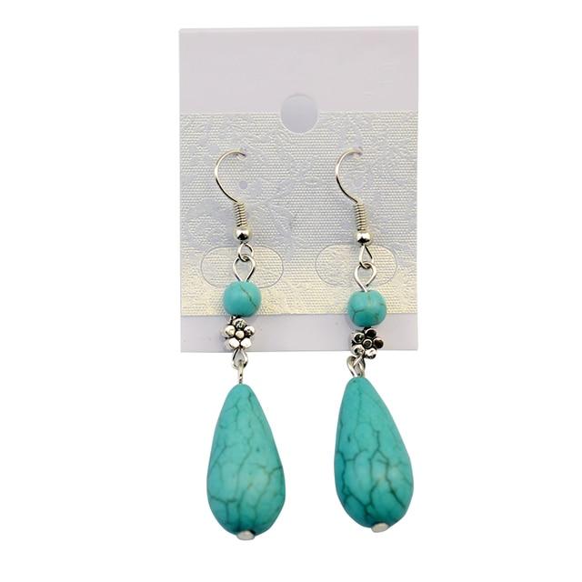 Idealway Bohemian Summer Style Brincos Leaf Tel Long Drop Earrings Gypsy Green Stone Dangle Earring