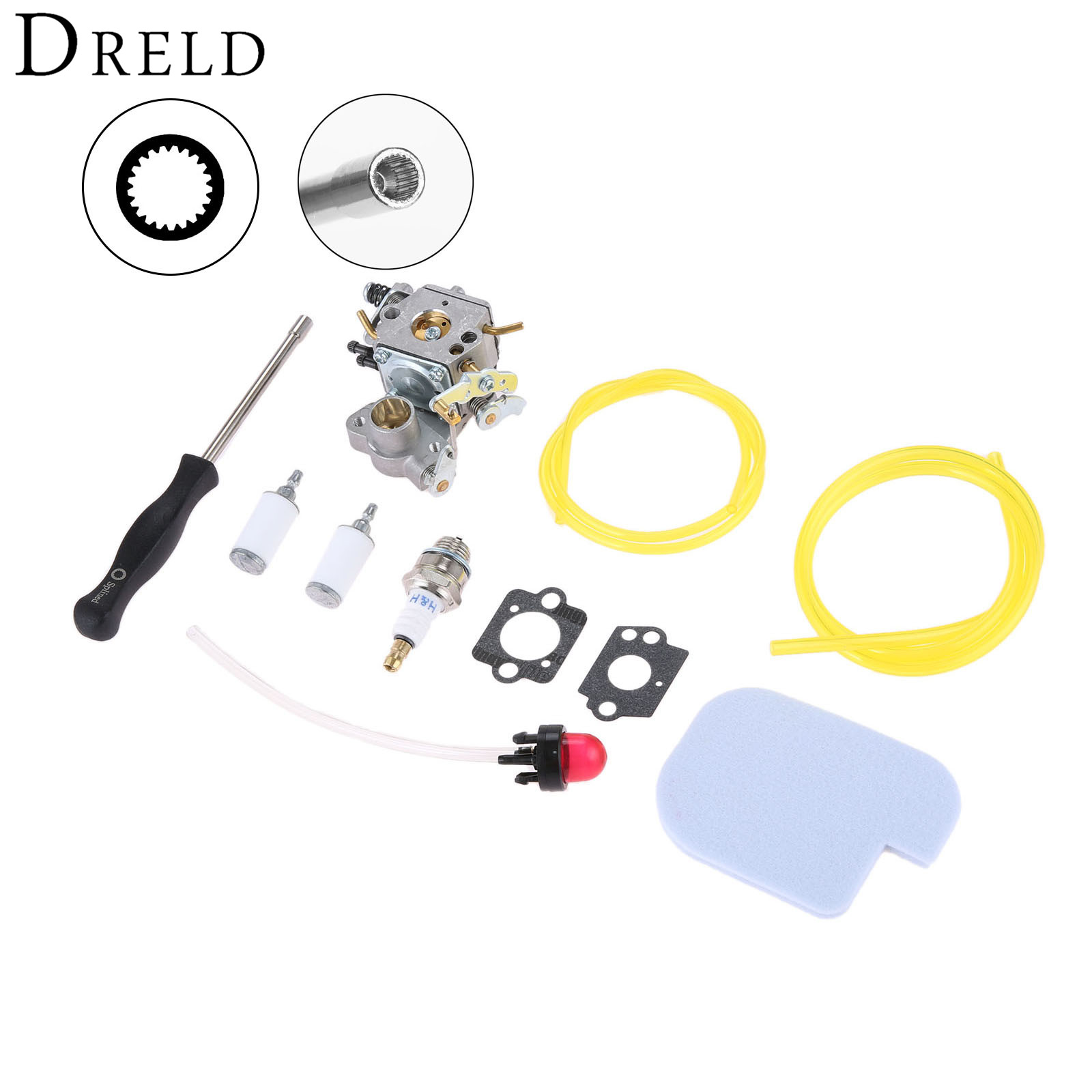 DRELD Carburetor Carb Gasket Fuel Filter Primer Bulb Air Filter Spark Plug Spined Tool For Poulan Craftsman Chainsaw C1M W26 in Lawn Mower from Tools