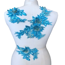 1Set 3D Flower Lace Applique Sewing Bridal Wedding Trims Motif Embroidery Sew On Rhinestone Beaded Fabric Blue Red Color