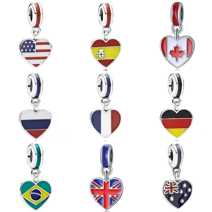 Mix Enamel Spain USA France Canada Russia Brazil Love Heart Flag Pendant Charm Fit Pandora Bracelet 925 Sterling Silver BeadsMix Enamel Spain USA France Canada Russia Brazil Love Heart Flag Pendant Charm Fit Pandora Bracelet 925 Sterling Silver Beads