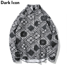 Dark Icon Bandana Shirt Men Long Sleeve Turn-down Collar Full Printed Hip Hop Shirts  Street Fashion Mens