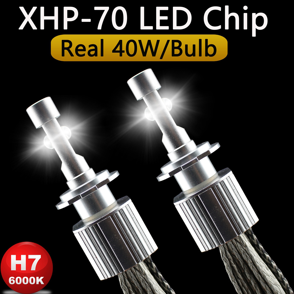 P70 XHP70 H7 Headlight Bulbs XHP-70 Chip White 6600LM Car Headlights H4 H11 HB3 9005 HB4 9006 9012 Real 40W Per Bulb